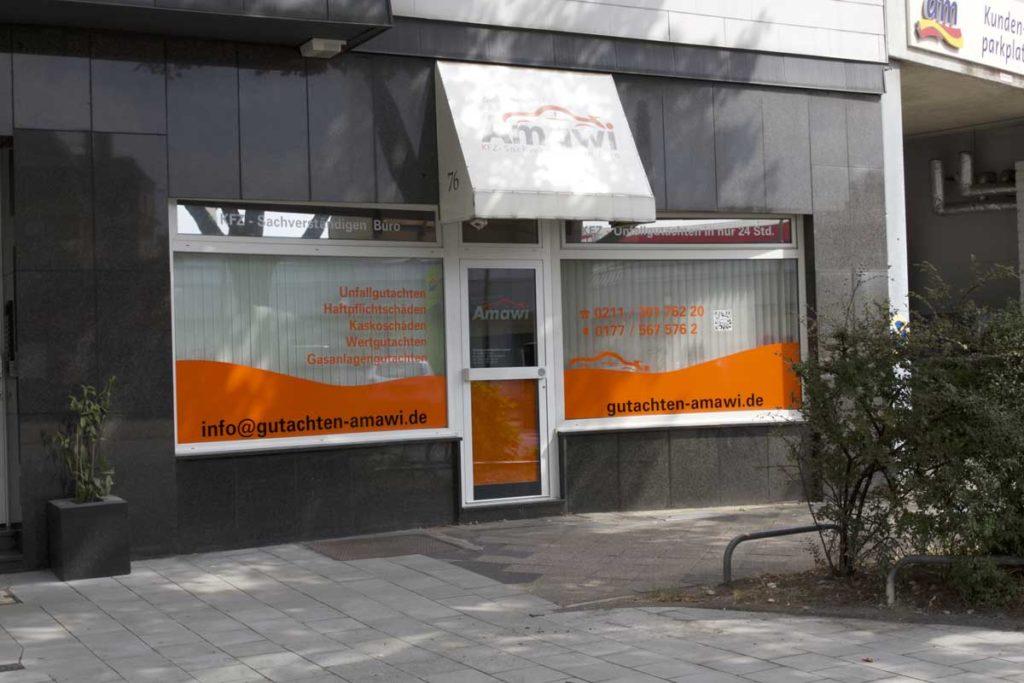 Kfz-Gutachterbüro Amawi in Düsseldorf von vorne.
