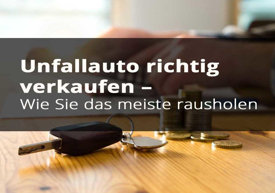 Unfallauto-Artikel Vorschaubild mit einem Schlüssel und Geld im Hintergrund.