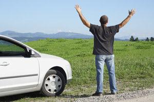 Leihwagenfahrer macht Urlaub neben grüner Wieser
